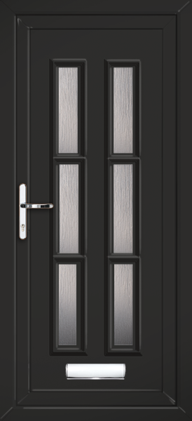 Black Glazed UPVC Front Door